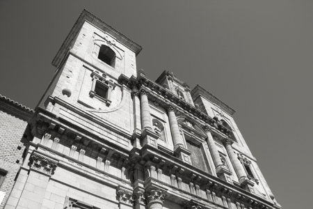 jesuit: Jesuit Church in Toledo - beautiful facade. Spain, Europe. Black and white tone - retro monochrome color style.