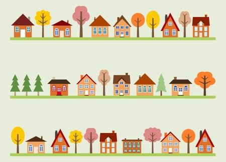 만화 집과 가을 나무와 작은 마을 거리보기. 유럽 마을 거리. 일러스트