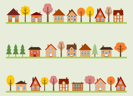 Small town street view with cartoon homes and autumn trees. European village street. Vector