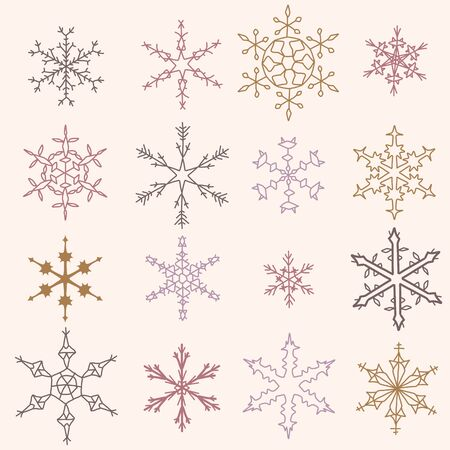 Snowflake winter icons set. Collection of snow flake symbols. Vector