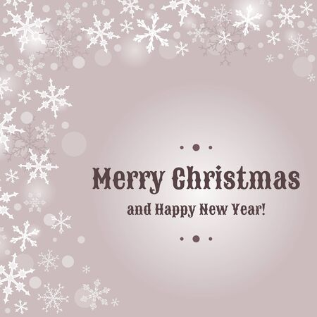 Merry Christmas card design with snow flakes. Sample text copyspace. Vector