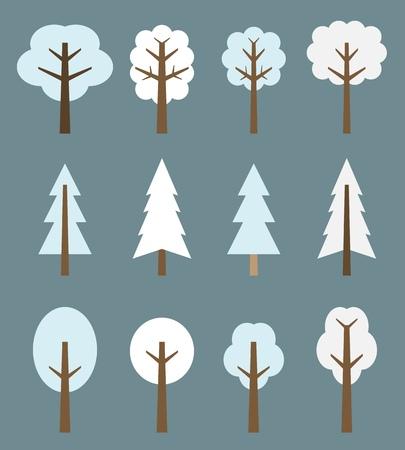 arbol de pino: Árbol de conjunto de iconos - árboles lindos de invierno ilustración de dibujos animados. Colección de la naturaleza.