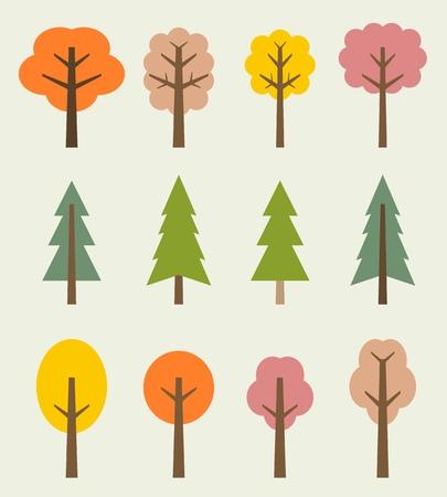 Tree icon set - cute autumn trees cartoon illustration. Nature collection. Vector