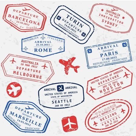 旅遊: 旅行郵票背景。虛擬國際機場的符號。