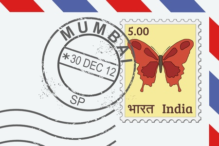 Letter from India - postage stamp and post mark from Mumbai. Indian mail. Vector