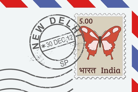 Letter from India - postage stamp and post mark from New Delhi. Indian mail. Vector