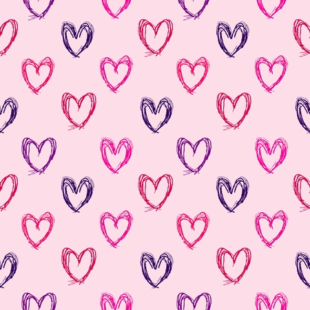 Doodle hearts seamless background illustration. Colorful love texture. Vector
