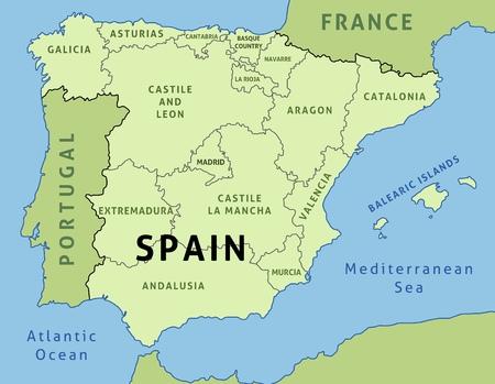 Map of Spain. Outline illustration country map autonomous communities.