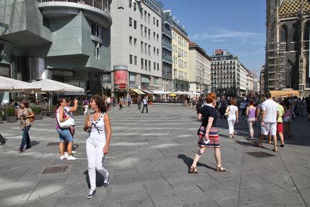 stephansplatz: VIENNA, AUSTRIA - SEPTEMBER 5, 2011: People stroll in Stephansplatz square in Vienna. As of 2008, Vienna was the 20th most visited city worldwide (by international visitors).