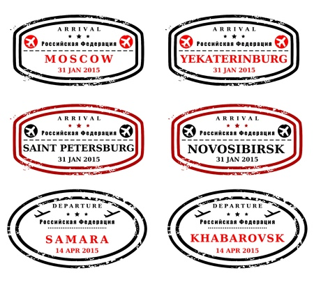 Travel stamps from Russia. Fictitious stamps (not real). Russian destinations: Moscow, Yekaterinburg, Saint Petersburg, Novosibirsk, Samara and Khabarovsk.