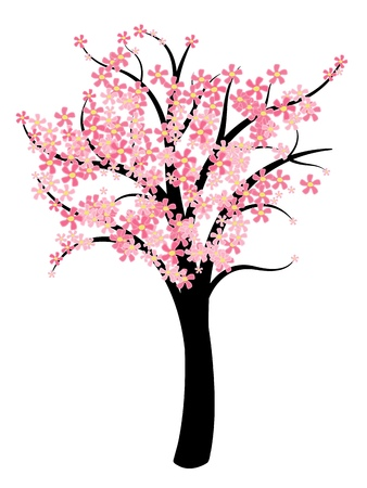 cherry blossom tree: Simple tree vector - natural symbol illustration. Spring cherry tree with pink blossom. Illustration