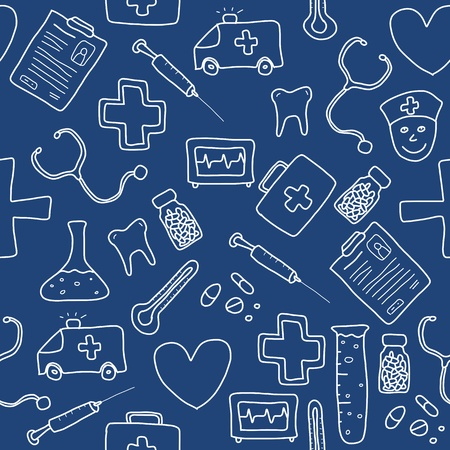 Patrón sin fisuras con los iconos de la salud, la medicina y la farmacia y símbolos. Fondo garabato Médica.