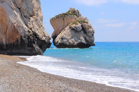 tou: Cyprus - Mediterranean Sea beach. Petra tou Romiou - Aphrodites Rock. Stock Photo