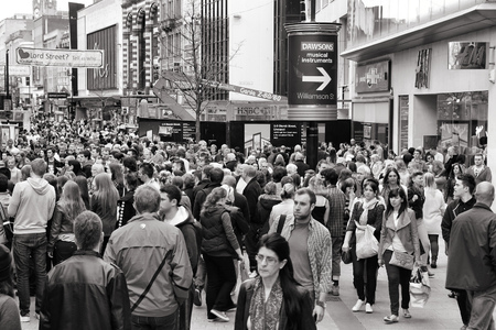 LIVERPOOL, UK - APRIL 20, 2013: People shop in Liverpool, UK. Liverpool City Region has a population of around 1.6 million people and is one of largest urban areas in the UK.