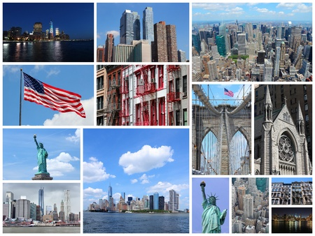 Photo collage from New York City, United States. Collage includes major landmarks like Statue of Liberty, Manhattan skyline and Brooklyn Bridge. photo