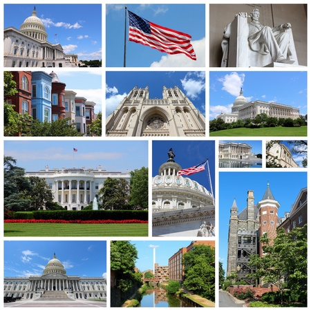 Photo collage from Washington DC, United States. Collage includes major landmarks like National Capitol, Georgetown University and Lincoln Memorial. photo