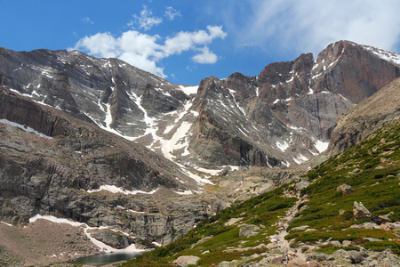 rocky mountain national park: Rocky Mountain National Park in Colorado, USA. Tourist trail to famous Longs Peak.