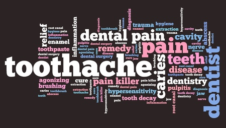 Toothache - health concepts word cloud illustration. Word collage. illustration