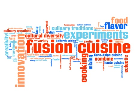 fusion: Fusion cuisine - contemporary cooking concepts word cloud illustration. Word collage concept.