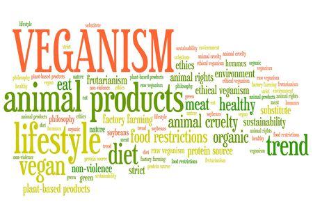 Veganism concepts word cloud illustration. Word collage concept. illustration