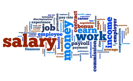 Salary - employment issues and concepts word cloud illustration. Word collage concept. Stock Photo