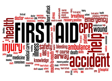 first aid: First aid - health concepts word cloud illustration. Word collage concept. Stock Photo