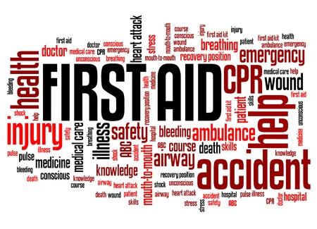 primeros auxilios: Primeros auxilios - conceptos de salud ilustraci�n nube de palabras. Collage concepto Palabra.