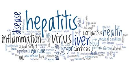 hbv: Hepatitis illness - health conceptual word cloud illustration. Word collage concept.