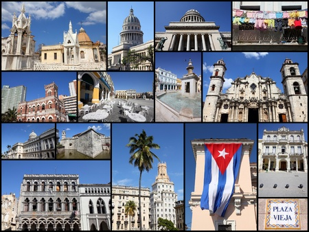 collage travel: Havana, Cuba photos collage - travel memories photo collection. Images of Capitolio, the cathedral and colonial architecture.