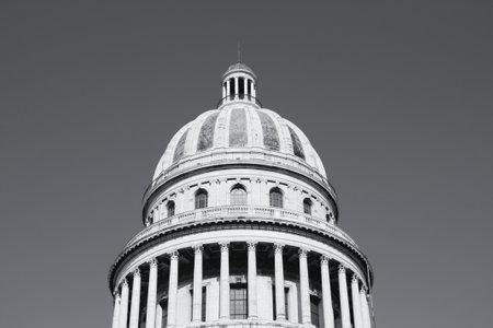 capitolio: Havana, Cuba - city architecture. Famous National Capitol (Capitolio Nacional) building. Black and white tone - retro monochrome style.