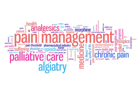 analgesics: Pain management and palliative care issues and concepts word cloud illustration. Word collage concept.