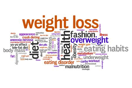 malnutrition: Weight loss issues and concepts word cloud illustration. Word collage concept. Stock Photo