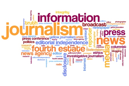 press news: Journalism and press issues and concepts word cloud illustration. Word collage concept.