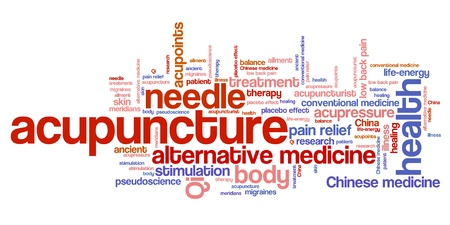 Acupuncture alternative medicine issues and concepts word cloud illustration. Word collage concept. Stock Photo