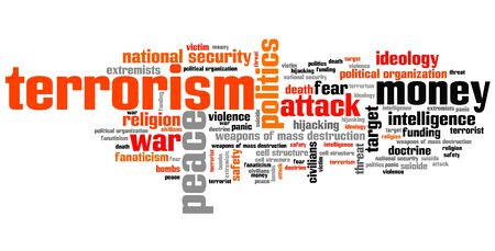 Terrorism issues and concepts word cloud illustration. Word collage concept. Stok Fotoğraf