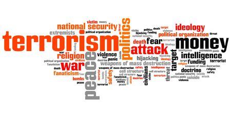 Terrorisme kwesties en concepten woordwolk illustratie. Word collage concept.