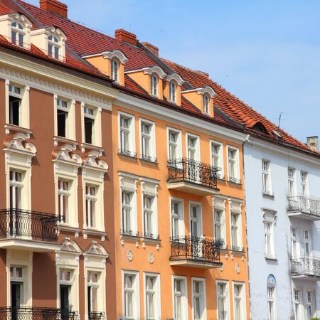 wielkopolska: Kalisz, Poland. Greater Poland province (Wielkopolska). Buildings at the main square (Rynek). Square composition.