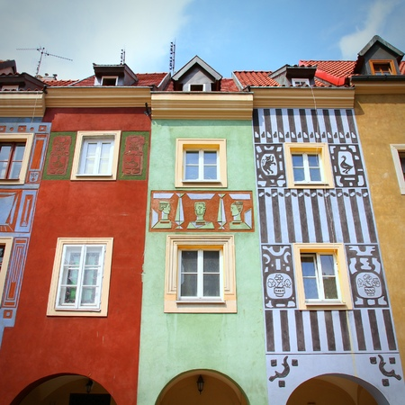 wielkopolska: Poznan, Poland - city architecture. Greater Poland province (Wielkopolska). Colorful buildings at the main square (Rynek). Square composition.