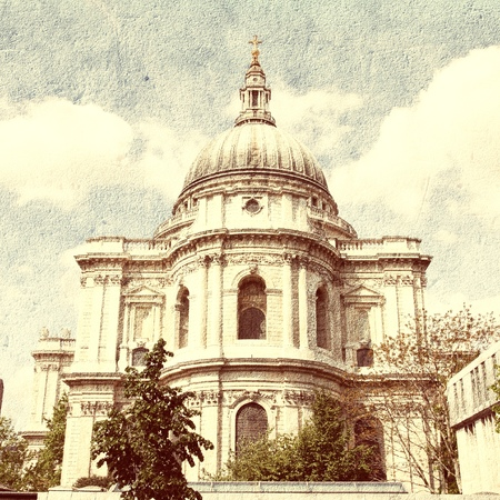st pauls: London, United Kingdom - famous St. Pauls Cathedral church. Cross processed retro style color tone. Editorial
