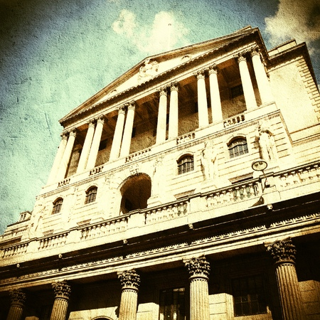 cross processed: London, United Kingdom - Bank of England building. Cross processed retro style color tone.