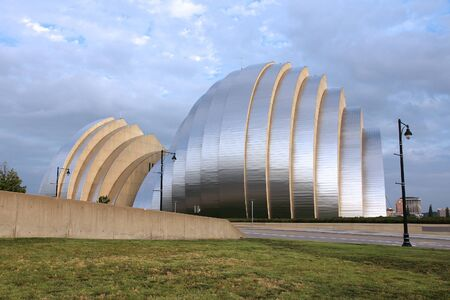 famous building: KANSAS CITY, USA - JUNE 25, 2013: Kauffman Center for the Performing Arts building in Kansas City, Missouri. Famous building was completed in 2011 and is an example of Structural Expressionism.