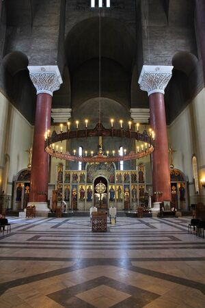 saint marks: BELGRADE, SERBIA - AUGUST 15, 2012: Interior view of Saint Marks Orthodox church in Belgrade. The church in Serbo-Byzantine style was completed in 1940.
