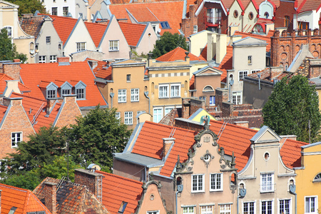 tenement buildings: Poland - Gdansk Old Town in Pomerania region. Old town architecture aerial view. Stock Photo
