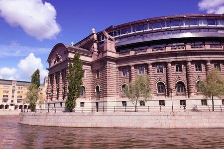 Stockholm, Sweden. Parliament building at Helgeandsholmen island. Filtered style colors. photo
