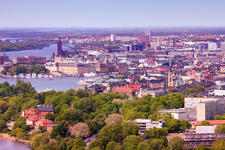 gamla stan: Stockholm, Sweden. Aerial view of famous Gamla Stan (the Old Town) and other islands, canals, landmarks. Filtered style colors.