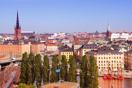 gamla stan: Stockholm, Sweden. Skyline of famous Gamla Stan (the Old Town). Filtered style colors. Stock Photo