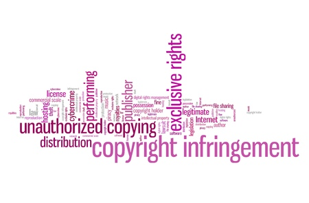 infringement: Copyright infringement issues and concepts word cloud illustration. Word collage concept. Stock Photo