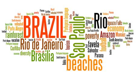 Brazil word cloud illustration. Tag cloud keyword concept. illustration
