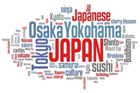 Japan word cloud illustration. Tag cloud keyword concept. illustration