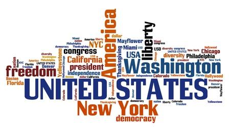United States word cloud illustration. Tag cloud keyword concept. Stock Photo